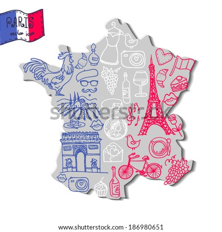 Map of France with a set of French symbols - stock vector