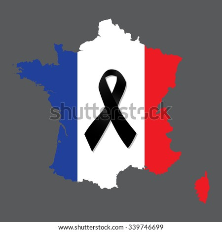 Map of France with the French flag and the black ribbon in mourning on gray background vector - stock vector