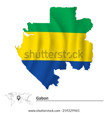 Map of Gabon with flag - vector illustration - stock vector
