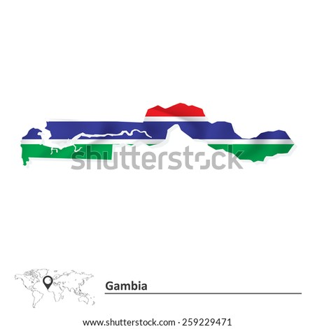 Map of Gambia with flag - vector illustration - stock vector