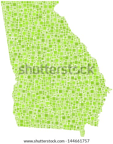 Map of Georgia - USA - in a mosaic of green squares. A number of 2720 little squares are accurately inserted into the mosaic. White background.