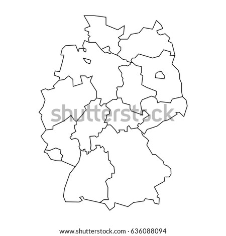 Map Germany Devided Federal States Stock Vector - Germany map bremen