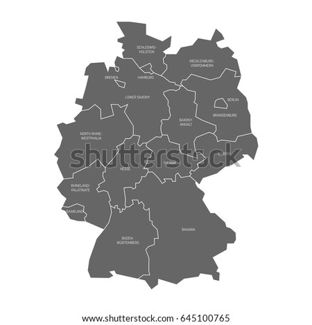 Map Germany Devided Federal States Stock Vector - Germany map states