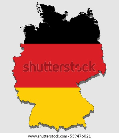 Map of Germany, Filled with the National Flag