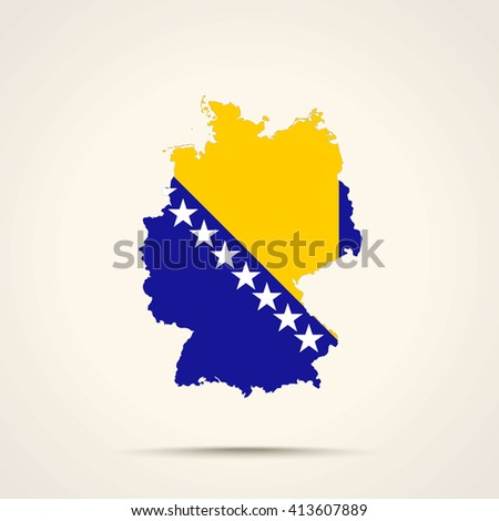 Map of Germany in Bosnia and Herzegovina flag colors