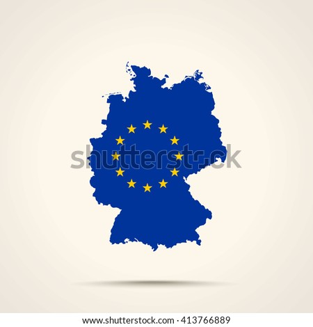 Map of Germany in European Union flag colors