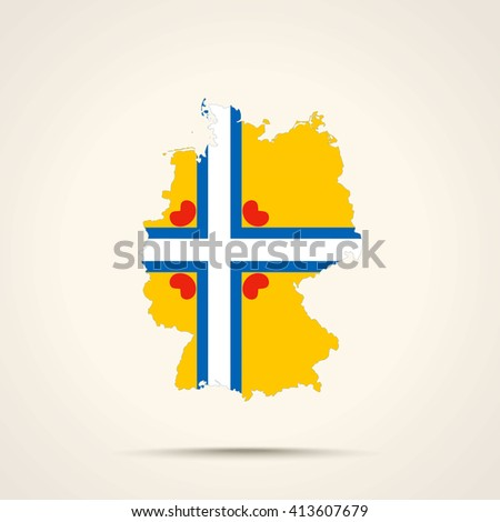 Map of Germany in Frisia (Friesland) flag colors