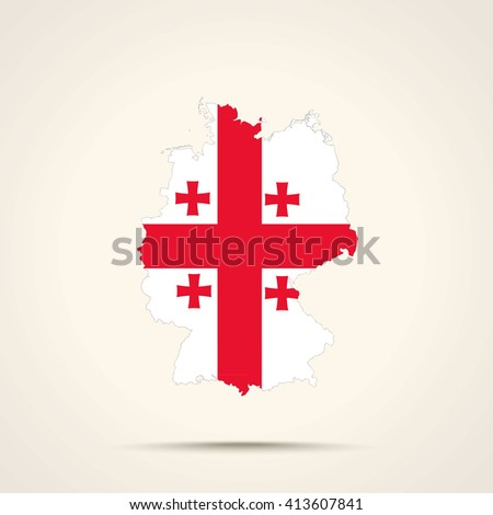 Map of Germany in Georgia flag colors