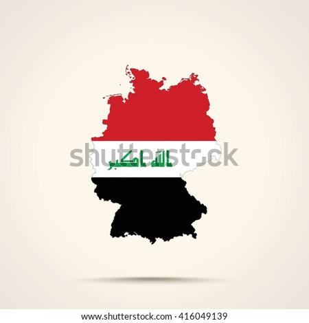 Map of Germany in Iraq flag colors - stock vector