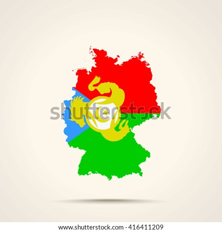 Map of Germany in Kumyks flag colors