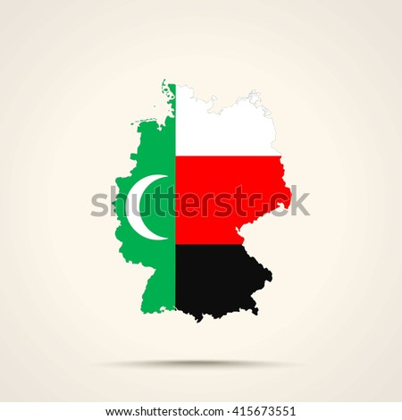 Map of Germany in Meskhetian Turks flag colors