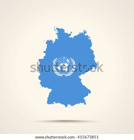 Map of Germany in United Nations flag colors