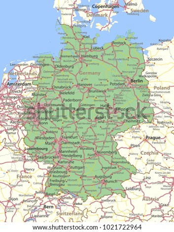 map of germany shows country borders urban areas place names and roads