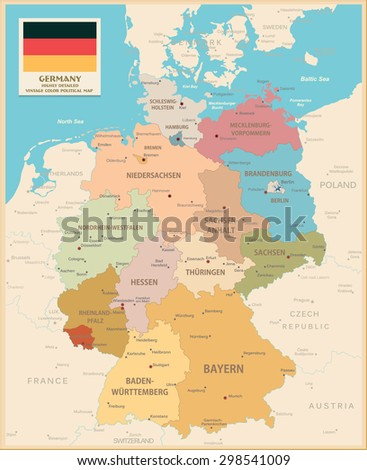 Map of Germany. Vintage colors. Highly detailed vector map of Germany.