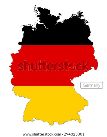 Map of Germany with an official flag. Illustration on white background