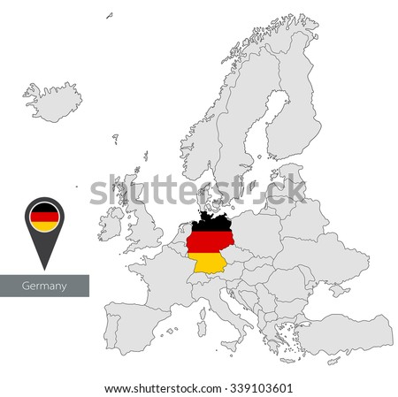 map of germany with an official flag location in europe