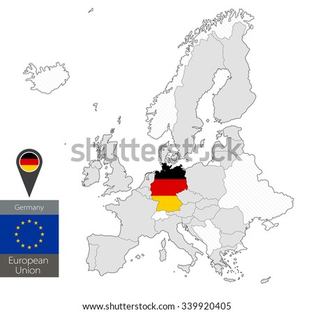 Map of Germany with an official flag. Location on European Union map