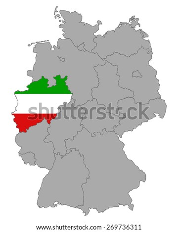 Map of Germany with flag of North Rhine-Westphalia - stock vector