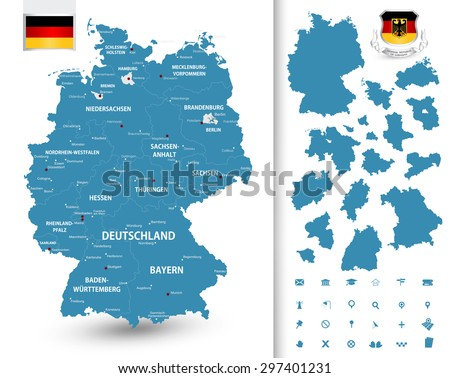 Map of Germany with its federal states/Highly detailed map of Germany with administrative divisions (states), cities and pictogram navigation icons.  - stock vector