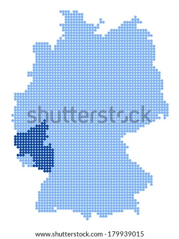 Map of Germany with stylized map of Rhineland-Palatinate made from blue dots (vector) - stock vector
