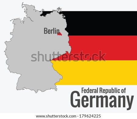 Map of Germany with the flag, vector - stock vector