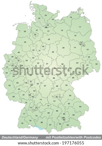 Map of Germany with zip codes in green