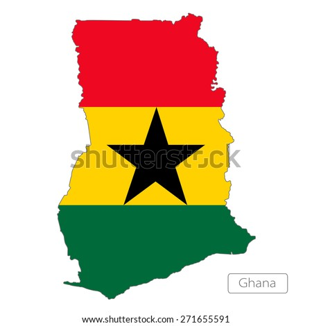 Map of Ghana with an official flag. Illustration on white background - stock vector