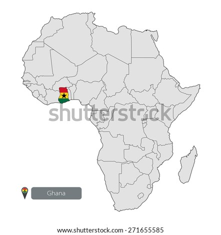 Map of Ghana with an official flag. Location on the continent of Africa - stock vector