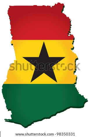 map of Ghana with the image of the national flag - stock vector