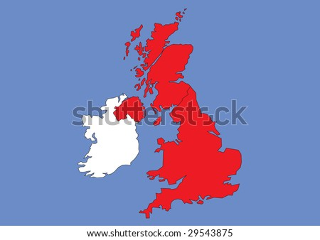 Map of Great Britain and Ireland - stock vector