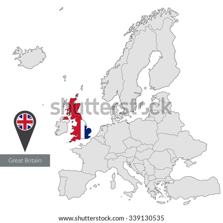 Map of Great Britain with an official flag. Location in Europe - stock vector