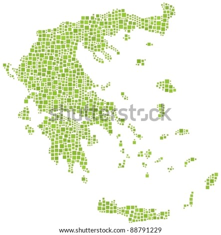Map of Greece (Europe) in a mosaic of 1192 squares - stock vector
