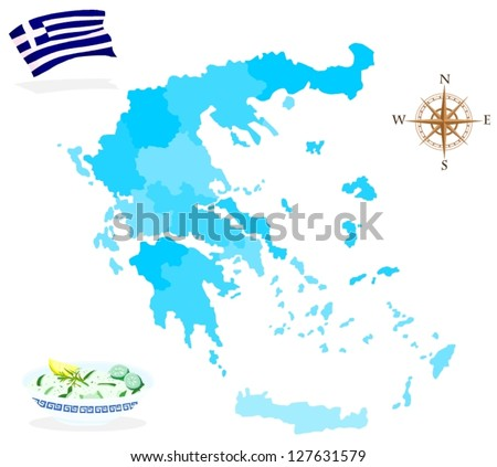 Map of Greece, regions and departments - stock vector