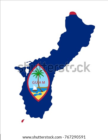 Map Guam Us Flag Isolated On Stock Vector Shutterstock - Map of guam