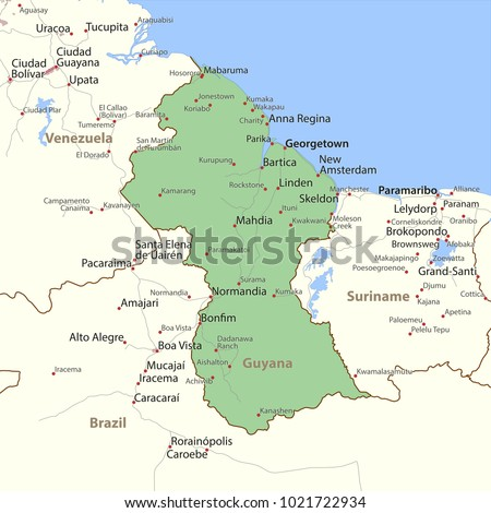 Map Guyana Shows Country Borders Urban Stock Vector HD Royalty Free