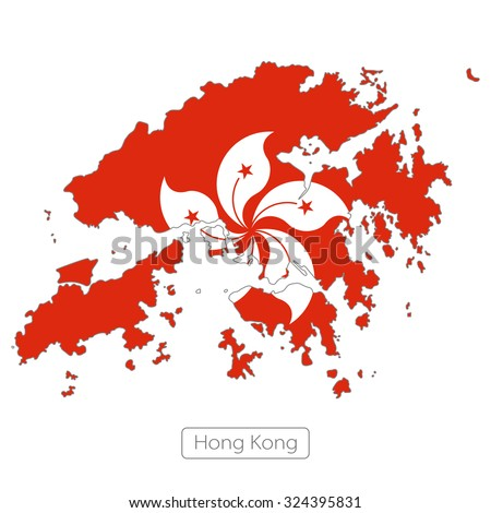 map of Hong Kong with the flag - stock vector