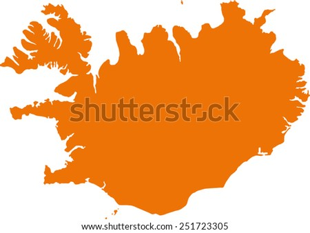 map of iceland - stock vector