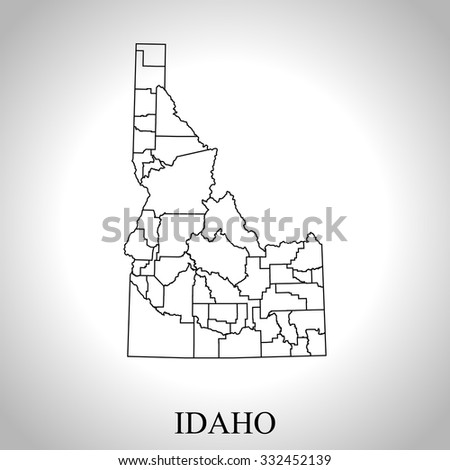 map of Idaho - stock vector