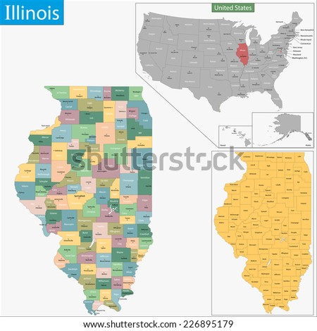 Map of Illinois state designed in illustration with the counties and the county seats - stock vector