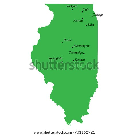 Map Illinois State USA Main Cities Stock Vector (Royalty Free ...