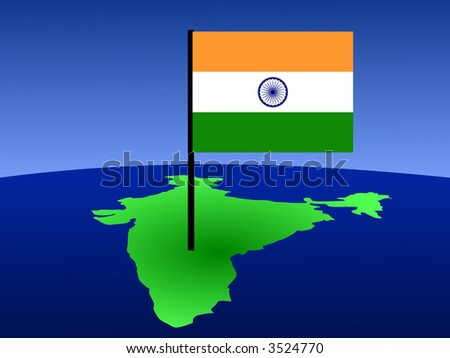 map of India and Indian flag illustration - stock vector