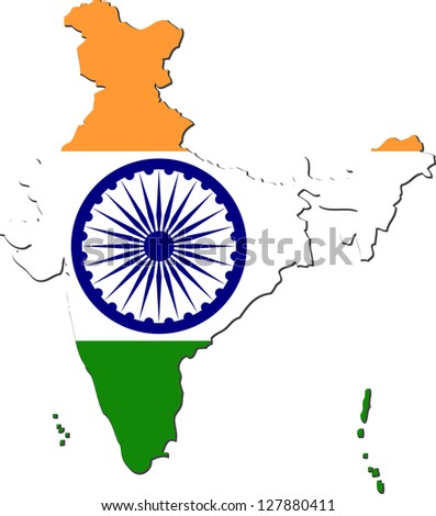Map of India with national flag isolated on white background - stock vector
