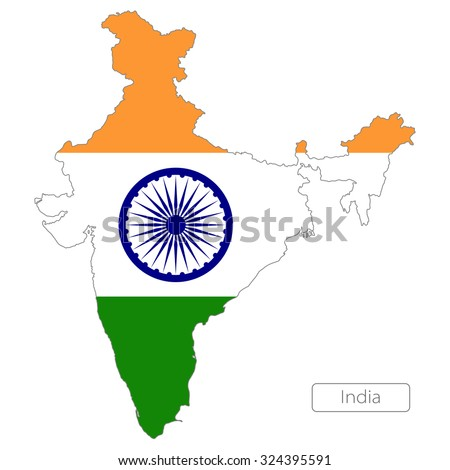 map of India  with the flag - stock vector