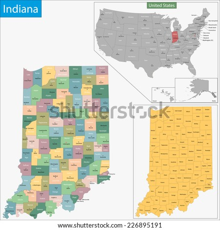 Map of Indiana state designed in illustration with the counties and the county seats - stock vector