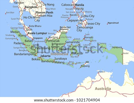 Map Indonesia Shows Country Borders Place Stock Photo Photo Vector