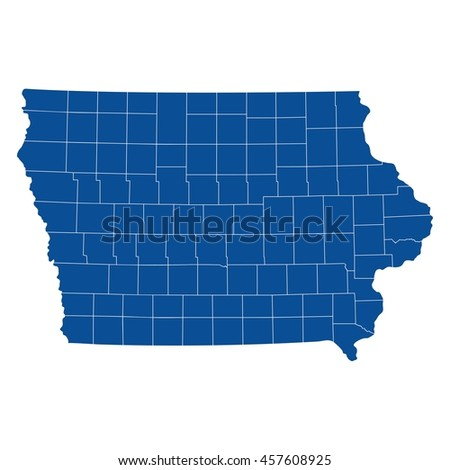 High Quality Map Us State Iowa Stock Vector Shutterstock - Iowa map us