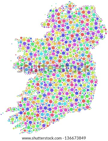 Map of Ireland - Europe - in a mosaic of harlequin circles. A number of 2631 little circles are accurately inserted into the mosaic. White background.
