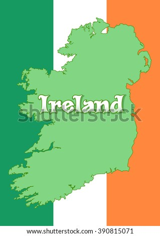 Map of Ireland on the background of the flag of Ireland.  Irish tricolour. Irish Republic. High resolution Ireland map with country flag. Vector illustration - stock vector