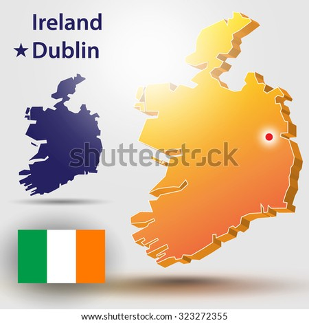 Map of Ireland. Vector silhouette of Ireland and the flag. The country's capital - Dublin - stock vector