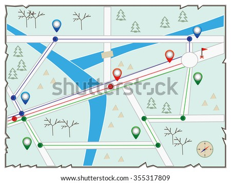 Map of  island (treasure map, gps map, illustration of the winter city maps, street map showing road with points and compass star)